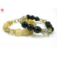Buy cheap Personalized Mens Black Stone Bead Bracelet with Charm , European Style product