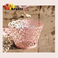 Buy cheap Laser Cut Cupcake Wrappers pink Laser cutting ivy vine cupcake wrappers flower branch lace cupcake wrapper for wedding from wholesalers
