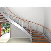 Buy cheap Indoor Custom Wood Stairs , Curved Staircase Construction For Large Commercial Office Spaces from wholesalers
