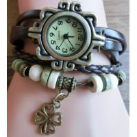 Buy cheap Clover Pendant Design Belt Watch Leather Watch Wrapped Bracelet from wholesalers