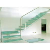 Buy cheap Glass stairs residential steel stairs straight staircase designs for villa from wholesalers