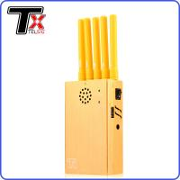 Buy cheap 5 Bands Cellular Signal Blocker , GPS / GSM / CDMA Gold Portable Wifi Signal Jammer from wholesalers