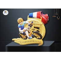 Buy cheap Stock Banlance Bike Medals Imitation Gold Plating And Colorful Printing Biker Relief In 3D Model Medailles With Ribbon from wholesalers