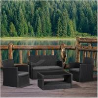 Buy cheap K.D Structure 4 Pieces Luxury Rattan Sofa Set, All Weather Black Wicker Sofa Furniture from wholesalers