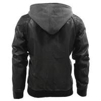 Buy cheap 52 XXL lamb skin brown distressed leather hooded windproof black breath jacket product