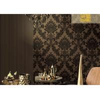Buy cheap Floral Soundproof Thick Velvet Damask Wallpaper , Non Woven Wallcovering European Style from wholesalers