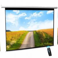 Buy cheap Cynthia Screen 80 Remote Control Motorised Projector Screen Flat Fabric HD Matte White Electric Screen from wholesalers