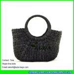 Buy cheap LUDA cute straw hobo bags fashion cornhusk straw black beach bag from wholesalers