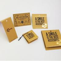 Buy cheap 5*5cm Gold foil logo vintage recycled brown kraft paper hangtag from wholesalers