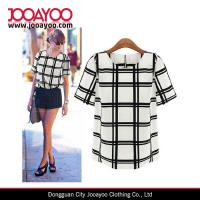 Buy cheap Stylish Women's Casual Black and White Plaid Short Sleeve Shirt Blouse Tops from wholesalers