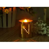 Buy cheap Decorative Hollow Copper Plating Ceramic Candle Holders Customized Design from wholesalers