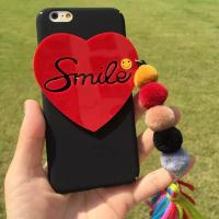 Buy cheap Hard PC DIY Love Heart Shape Smile Word Small Hairball Tassels Cell Phone Case Cover For iPhone 7 6s Plus from wholesalers
