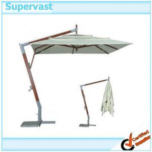 Buy cheap Outdoor Leisure Offset Wood Patio Umbrella , Garden Wooden Hanging Umbrella product