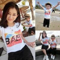 Buy cheap 2016 Fashion Parent-child outfits Summer White T-shirt Casual style Baby Pattern from wholesalers