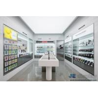 Buy cheap Cosmetics Store Interior Design In wall Display Cabinets with Glass shelves and Wood counters by LED light from wholesalers