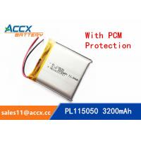 Buy cheap 115050 105050 3200mAh 3.7v lithium polymer battery OEM rechargeable lipo battery from wholesalers