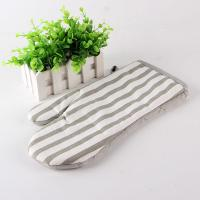 Buy cheap Grey And White Strip Kitchen Oven Mitts / Hosehold Heat Proof Oven Gloves 18*28 Cm from wholesalers
