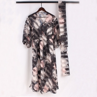 Buy cheap Women V Neck Organza Stripe Polyester Maxi Dress from wholesalers