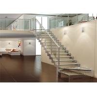 Buy cheap Carbon steel beam zig zag glass staircase tempered glass stair treads from wholesalers