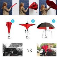 Buy cheap Drop Shipping Windproof Reverse Folding Double Layer Inverted Chuva Umbrella Self Stand Rain Protection C-Hook Hands For from wholesalers