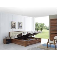 Buy cheap Cheap FSC Certificated Good quality Upholstery headboard bed with wood storage bottom and Sliding door wardrobe from wholesalers