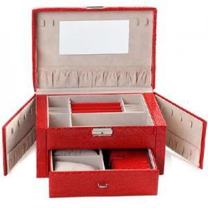 Buy cheap double-layer square jewelry box jewelry storage box red crocodile pattern product