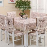 Buy cheap Cotton tablecloth with lace border and quilted chair cover with faux suede lining, from wholesalers