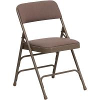 Buy cheap Curved Triple Braced and Double Hinged Patterned Fabric Upholstered Metal Folding Chair, Multiple Colors from wholesalers