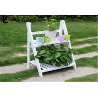 Buy cheap Eco - Friendly Outdoor Patio Shelves , White Color 2 Tier Wooden Plant Stand from wholesalers