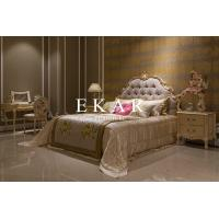 Buy cheap Luxury King Size Wooden Bed Hand Carved Fabric King Bed from wholesalers