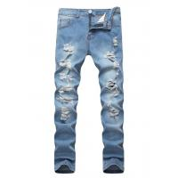 Buy cheap Light blue men's broken hole stretch jeans more tattered slim men denim trousers. from wholesalers