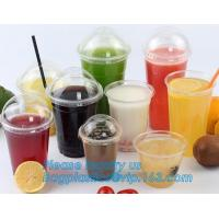 Buy cheap 600ml PET plastic cup with lid for juice,Food grade 12oz 375ml cold drink transparent biodegradebale PET disposable plas from wholesalers