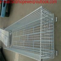 Buy cheap Wire cage folding warehouse collapsible metal wire mesh container/warehouse storage cage mesh storage from wholesalers