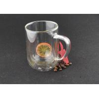 Buy cheap Lead Free Custom Logo Double Glazed Coffee Cups Borosilicate With Handle from wholesalers