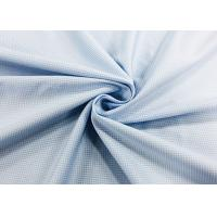 Buy cheap 100% Polyester Shirt Fabric Warp Knitting Plain For Worker Blue Checks from wholesalers