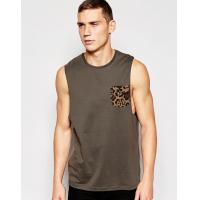 Buy cheap cotton vest with leopard pocket and relaxed skater fit training vest from wholesalers