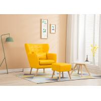 Buy cheap Living Room Fabric Wooden Sofa Ming Yellow Colour With High Density Sponge from wholesalers