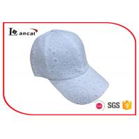 Buy cheap White eyelet baseball cap , 6 panel bend peak cap with white snapback from wholesalers