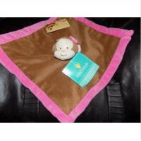 Buy cheap Girl Brown Pink Monkey Security Blanket , Security Baby Blankets With Stuffed Animal Heads from wholesalers