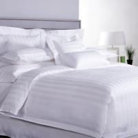 Buy cheap ISO9001 Luxury 5 Star Quality Stripe White 100 Cotton Linen Sheet Bedding Set Hotel Bed Sheets from wholesalers