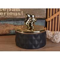 Buy cheap Matte Black Diamond Ceramic Candle Jars With Gold Animal Lids For Decoration from wholesalers