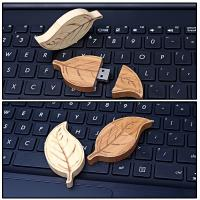 Buy cheap Natural Retro Style of  Leaf  Wood USB Flash Drive High Speed USB 2.0 128MB - 64GB from wholesalers
