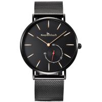 Buy cheap Fashion men's watch custom stainless steel mesh band ultra-thin case watch quartz genuine leather belt montres with date from wholesalers
