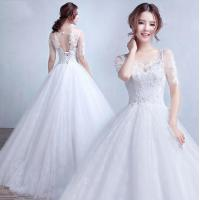 Buy cheap Fashion Half Sleeve Open back Appliques wedding dress gowns for Bridal, Girls, Women LXHS-1338 from wholesalers