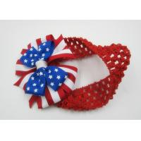 Buy cheap US National Flag Elastic Fabric Girls Fabric Headband For Kids Red Bule product