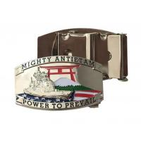 Buy cheap Custom metal letter silver plating belt buckle with customized logo from wholesalers