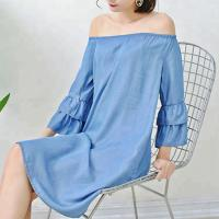 Buy cheap Young Ladies Denim Shirt Dress Off Shoulder Bat Wing Long Sleeve KneeLength from wholesalers