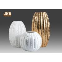Buy cheap Round / Oval Fibreglass Plant Pots Glossy White Gold Leaf Finish Line Surface from wholesalers