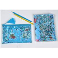 Buy cheap Clear Sewing PVC Cosmetic Bag Blue Star Glitter Plastic Makeup Pouch With Confetti from wholesalers