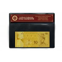 China Newest Bill 24 Carat Gold Banknote Gold Plated Malaysia 10 Ringgit Come With Ornament Frame on sale
